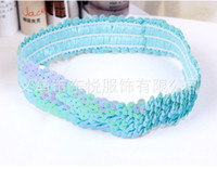 sequin elastic - Fashion Stylish Women Elastic Hair Band Sequins Wave Exotic Hair Jewelry Multicolor