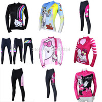 Wholesale 2014 new women cartoon pink hello kitty cycling jersey cycling pants Mickey bike jersey pants Tom and jerry cycle shirt suits