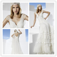 Cheap 2014 Boho Girl A-Line V Neck Short Sleeves Back Zipper Sweep Train Embroidery Chapel White Bridal Wedding Dress