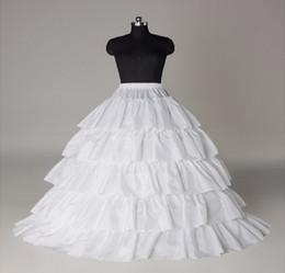 en Stock barato Cuatro Aros cinco capas de volantes Una línea Enaguas Resbalón nupcial crinolina para vestidos de bola de quinceañera / boda / vestidos de baile 2015