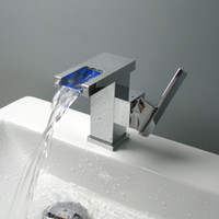 Wholesale New Brass Bathroom Basin sink Waterfall Faucet Single handle Chrome Finished With LED