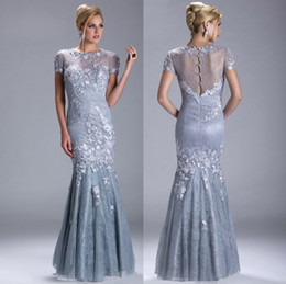 2019 Sexy Silver Evening Dresses Short Sleeves Beaded Mermaid Trumpet Mother Of The Bride Dresses