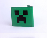 Wholesale 10 cm Minecraft JJ Blame Creeper Real Leather Wallet Purse Card Bag