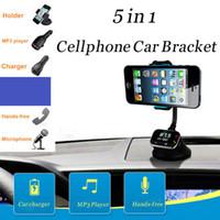 Wholesale Adjustable Width Multi function Car Holder AY T16 Dual USB SD Card Slot FM Radi Handsfree Earphone amp Microphone