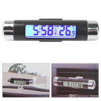 Wholesale Fashionable Two Way Car LCD Digital Blue Backlight Clock Thermometer with Clip