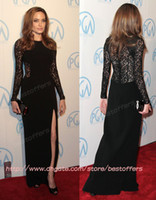 Jewel angelina lace - Angelina jolie Long sleeves lace evening dresses with jewel neck see through lace zipper back high slit A line sweep prom party gowns