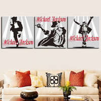 Cheap 3 Panels Michael Jackson Printed Oil Canvas Painting Wall Art Picture Hangings On COTTON Canvas For Living Room Home Decoration