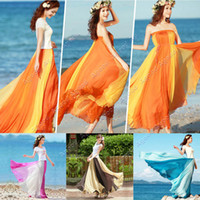 Cheap Vintage Style Women Soft Chiffon Contrast Elastic Waist Maxi Full Boho Skirt long Dress SV001221