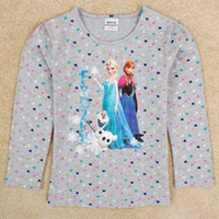 Wholesale frozen elsa and anna kids autumn clothing nova stock fashion frozen tee long sleeve frozen top ropa bebe F5318