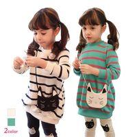 cat - Fall Quality Children Clothing Dress Set Long Sleeve Cat Stripe Dress Leggings Baby Girl Suit Kids Leggings Set Child Wear GX760