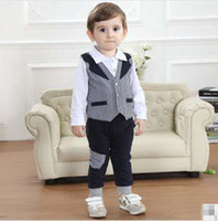 Gentleman Autumn Kids Sets Baby Boy Clothes White Long Sleev...