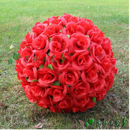 """Elegant 8"""" 20 cm Artificial Red Rose Silk Flower Leaf Kissing Balls For Christmas Ornaments Wedding Party Decorations Supplies"""