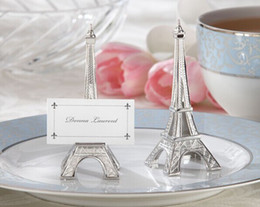 Wholesale Wedding Favors quot Evening in Paris quot Eiffel Tower Silver Finish Place Card Holder with matching name card by express