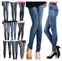 spandex leggings - 2014 Hot selling Fashion Women Leggings Polyester Spandex Jeans Hole Pleated Prints Casual Leggings Styles
