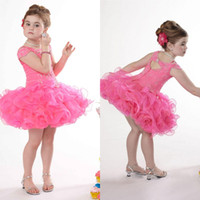 Cheap 2014 New Fashion Little Girls Pageant Dresses Fuchsia Princess Ball Gown Mini Short Beading Organza Flower Girls Dresses EM02640