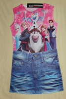 Cheap Wholesale - -2014 summer frozen elsa and anna dress children's clothing cartoon printed denim skirt children clothes