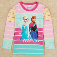 Cheap frozen t shirt for kids nova brand 2014 trendy candy girls frozen tshirts elsa anna striped top baby girl clothes F5319