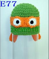 Wholesale 20pcs Knit Teenage Mutant Ninja Turtles Inspired Beanie with Orange Mask Hat