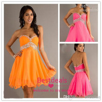 2014 Cute Empire Strapless Sweetheart Beads Organza Homecomi...