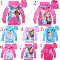 Cheap New Fashion Frozen Baby Girls Elsa Anna Princess Olaf Hoodie Long Sleeve Terry Hooded Jumper Cartoon Hoodies Outerwear Kids Cloth 8 colors