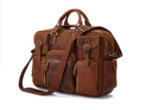 Wholesale Hot New Europe and America style Large Genuine Leather Duffle Bag Travel Bag Laptop Bag Messenger Bag in Vintage