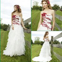 red and white strapless wedding dresses - 2014 New Real Made Flouncing Flowers Embroidery Beach Corset Red And White Wedding Dresses