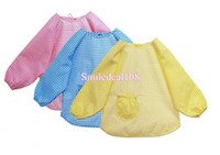 Wholesale Baby Toddler Kids Waterproof Feeding Bibs Long Sleeve Children Feeding Art Smock Bib Apron