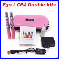 Cheap Ego t CE4 Electronic Cigarette kits 650mah 900mah 1100mah battery in zipper case Double Cigarettes kits e cigarettes Various colors hot sale