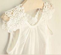 Cheap baby girl kids lace shirt tanks pettiskirt tutu tank tops singlet crochet crocheted hollow collar flower floral cotton pajamas princess 5