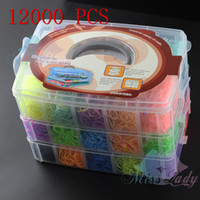Cheap 12000pcs Crazy and fun Rubber Rainbow Loom Band Kit Kids DIY Bracelet Silicone Loom Bands 3 layers PVC Box Family Loom Kit Set Refills