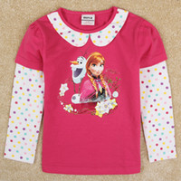 bebe wear - frozen baby clothes ropa bebe autumn winter frozen tops for girls anna olaf frozen tshirt long sleeve kids wear nova F5288D