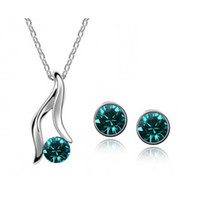 Wholesale 18K white gold plated austrian crystal sets crystal necklace stud earring Jewelry Sets