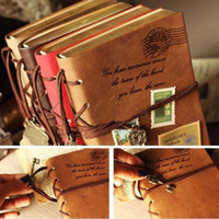 Wholesale 2 Color Classic Retro Vintage Leather Notebook Bound Blank Page Journal Diary TL