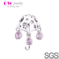 Wholesale Umbrella Charms with pink crystal mini charms beads fit Chamilia Bracelet No YZ112