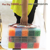 Cheap Outdoor 38000pcs Rubber Rainbow Loom Band Kit Kids DIY Bracelet Silicone Crazy weaving Loom Bands Large Box Family Loom Kit Set Refills