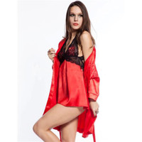 sexy spandex lingerie - Red Spandex Exotic Sexy sleepwear kimono babydoll casual three piece dress Sleeve Print patchwork Lingerie Sets