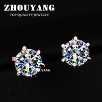Wholesale ITALINA RA Six Claws mm ct Stellux CZ Diamond K Real Gold Plated Stud Earrings Jewelry Crystal ZYE036