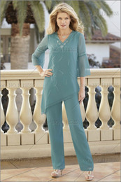 Wholesale Summer Chiffon two piece mother of the bride pant suits New Arrival