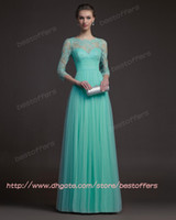 Wholesale summer mint green tulle evening dresses with sweetheart bodice sheer lace sleeves Pleats ruched Waist A line Long sweep prom party gowns
