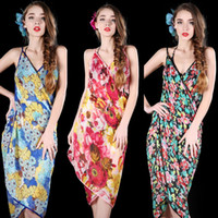 Wholesale 2014 New Women Wrap Chiffon Floral Butterfly Pattern Swimwear Bikini Cover Up Sarong Beach Dress