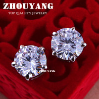Wholesale ZYE648 Clear Platinum White Gold Plated Stud Earrings Classic Prongs ct mm Cubic Zirconia Post