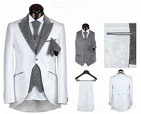 Cheap hot sale mens suits wedding groom suit men for wedding one button five pieces black white sliver