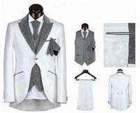 Cheap hot sale mens suits wedding groom suit men for wedding one button five pieces black white sliver