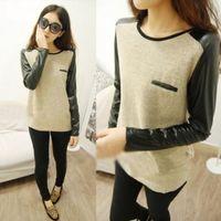 Wholesale Womens Ladies New Cotton amp PU Leather Long Sleeve T shirt Top Blouse Vest Trendy