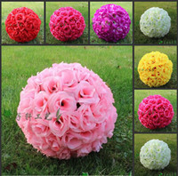 Wholesale 20 CM quot New Artificial Encryption Rose Silk Flower Kissing Balls Hanging Ball Christmas Ornaments Wedding Party Decorations