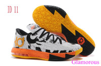 Cheap 2014 New Kevin Durant KD VI 6 Sports Shoes White Breathable Athletic Sneakers in Size EU 41-47 with Logos Sporty Male Basketball Shoes