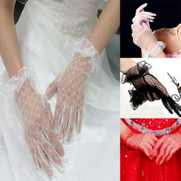 Wholesale 10pairs Lace Mesh Wrist Length Gloves Wedding Bridal Party Car Models Gloves ColorsHQ0021 Drop shipping