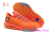 Cheap 2014 New Kevin Durant KD VI 6 Brand New Orange Sports Shoes Mens Sneakers in Size EU 41-47 with Logos Durable Sports Shoes Basketball Shoes