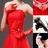 Cheap Freeshipping Lace Mesh Wrist Length Gloves Wedding Bridal Party Car Models Gloves 3ColorsHQ0021 Drop shipping