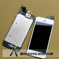 Wholesale For Iphone LCD Display and Touch Screen Digitizer Assembly Home Button Front Camera iPhone lcd complete black white